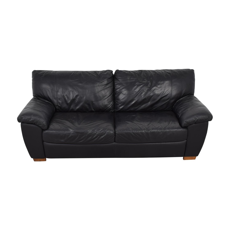 58% OFF - IKEA IKEA Vreta Black Leather Two-Cushion Sofa / Sofas
