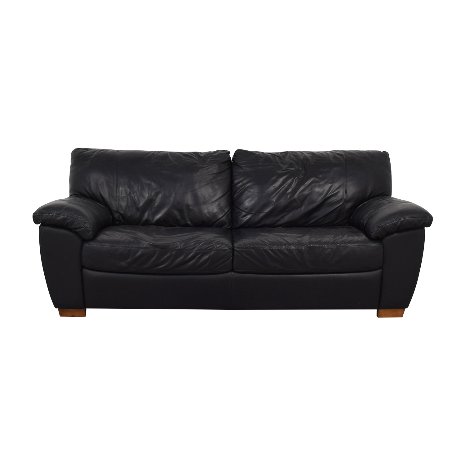 IKEA IKEA Vreta Black Leather Two-Cushion Sofa on sale
