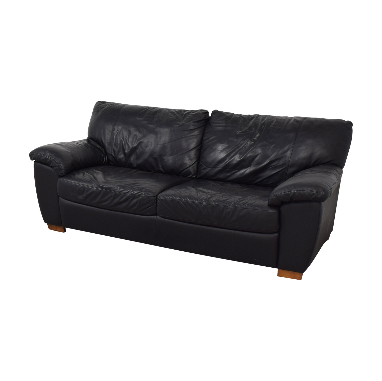58 off ikea ikea vreta black leather two cushion sofa sofas. Black Bedroom Furniture Sets. Home Design Ideas