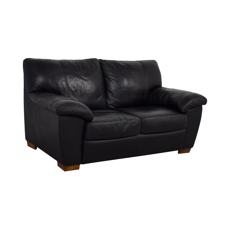 Ikea Vreta Black Leather Loveseat Second Hand