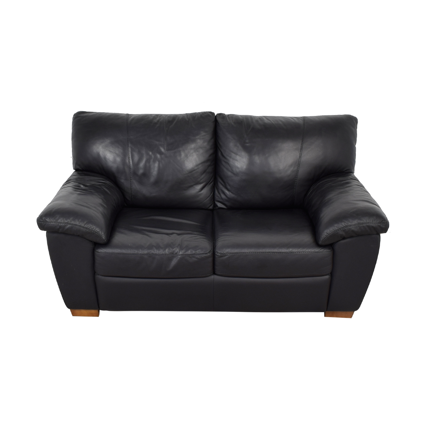 IKEA IKEA Vreta Black Leather Loveseat on sale