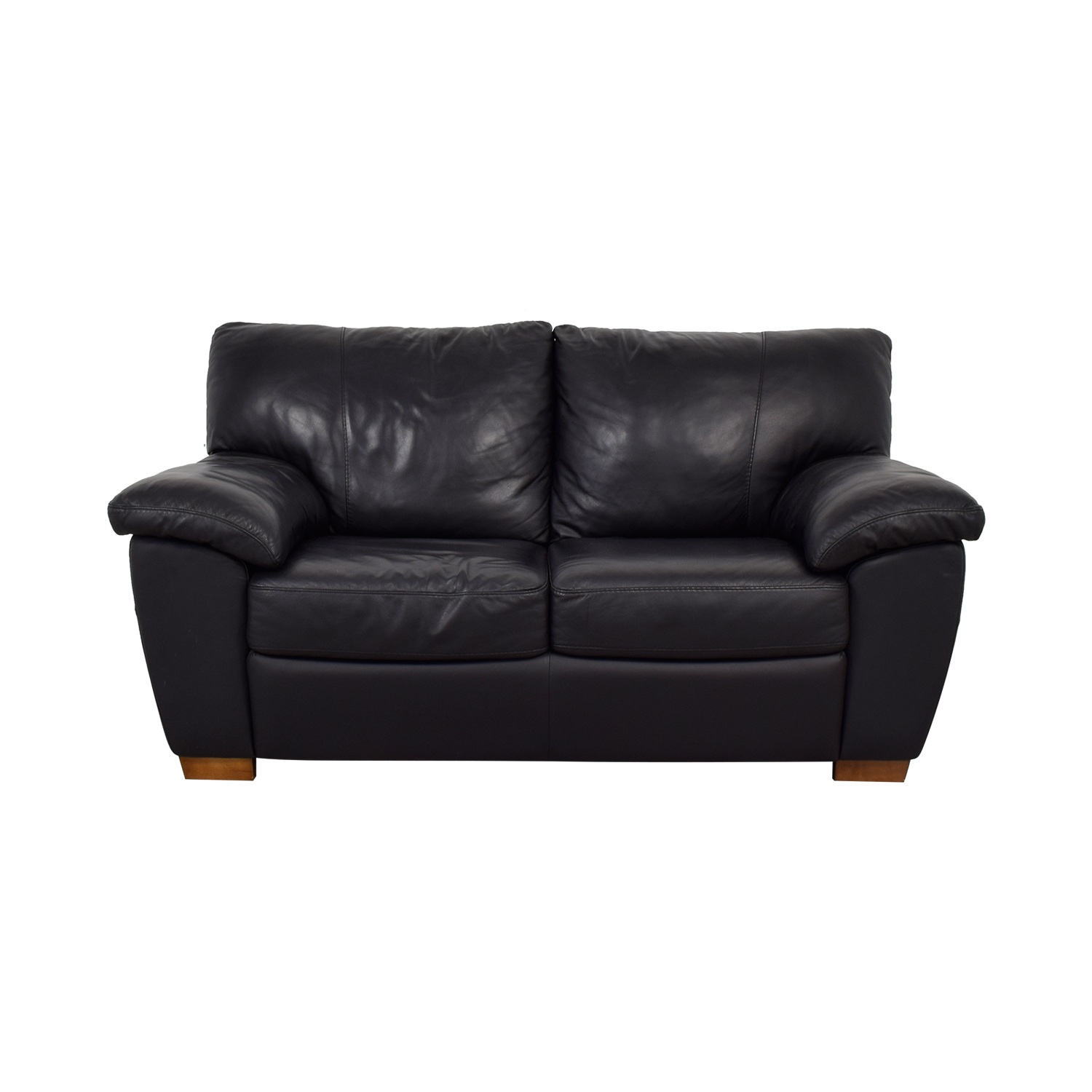 buy IKEA Vreta Black Leather Loveseat IKEA Sofas
