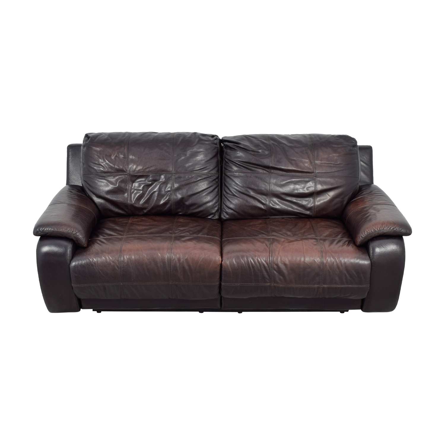 Raymour & Flanigan Brown Leather Power Recliner Sofa Raymour & Flanigan