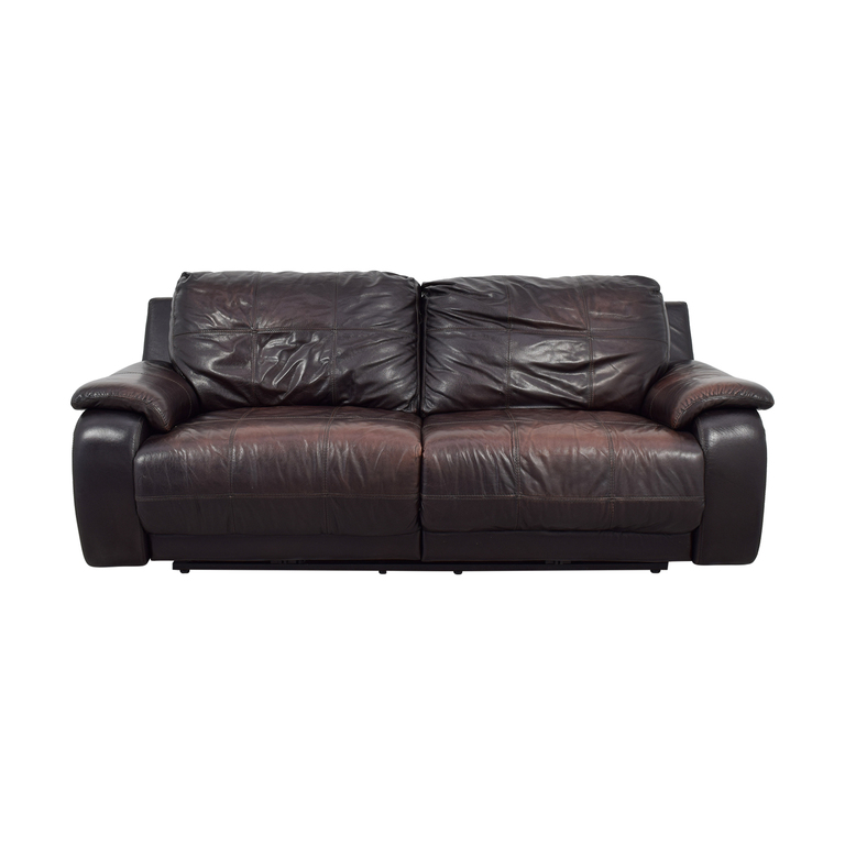 Raymour & Flanigan Raymour & Flanigan Brown Leather Power Recliner Sofa nyc