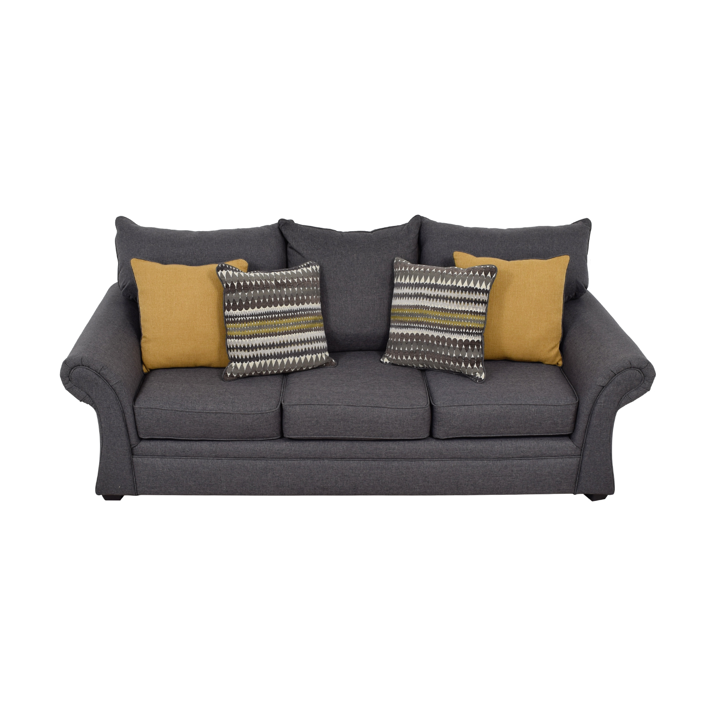 Grey Sofa with Gold Throw Pillows coupon