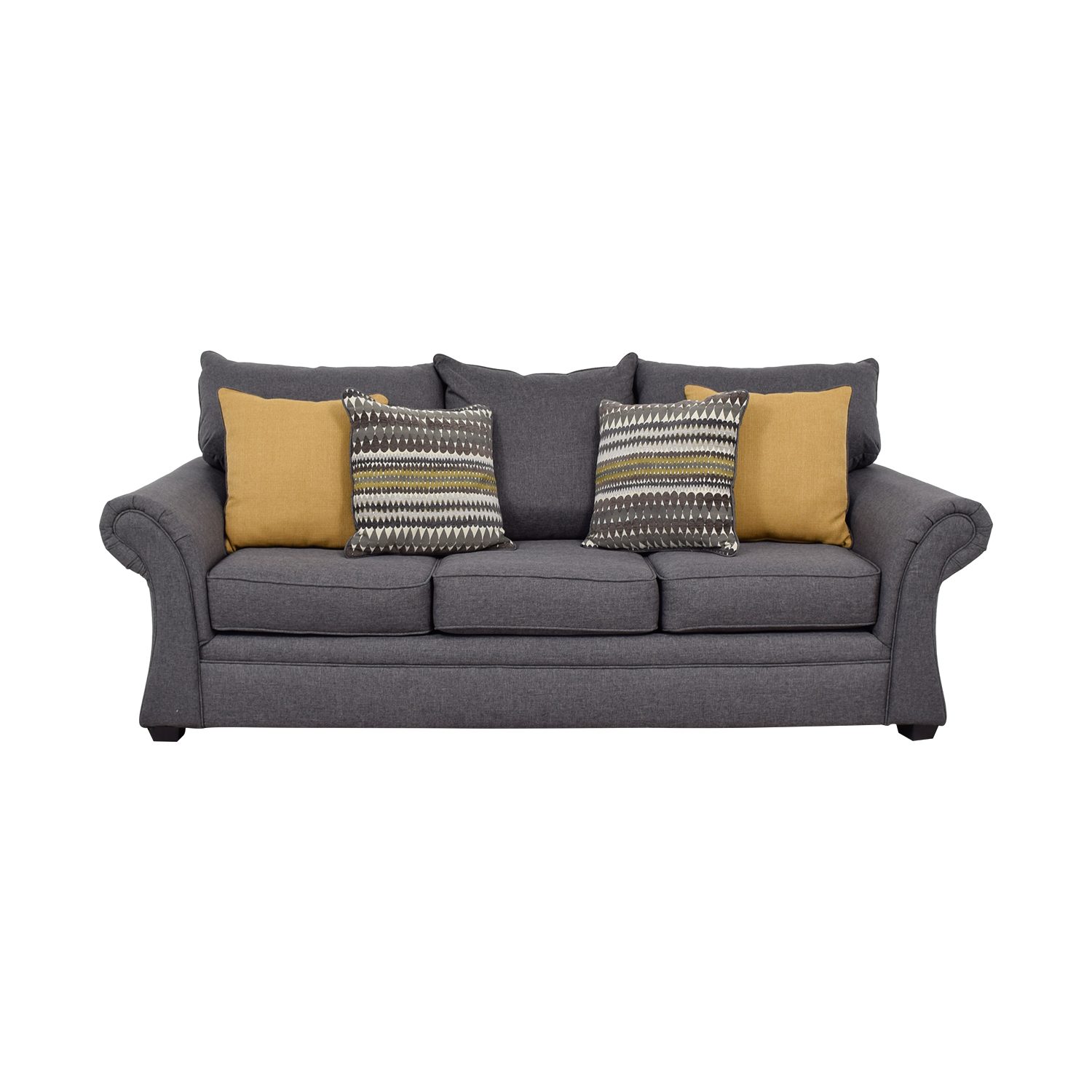 Image of: 50 Off Grey Sofa With Gold Throw Pillows Sofas