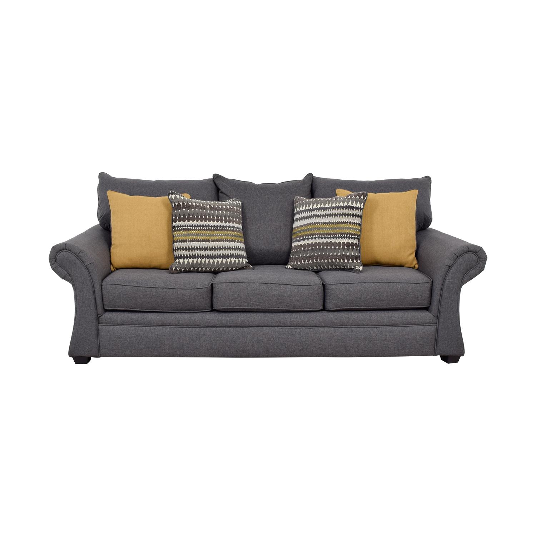 50 Off Grey Sofa With Gold Throw Pillows Sofas