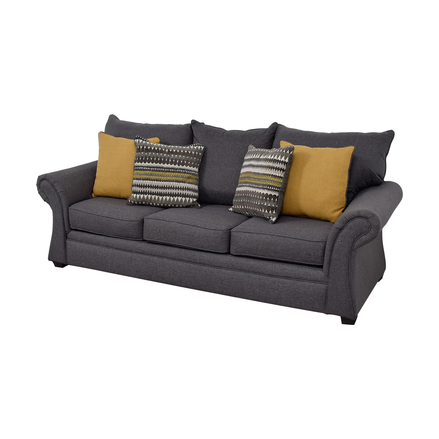 Picture of: 50 Off Grey Sofa With Gold Throw Pillows Sofas