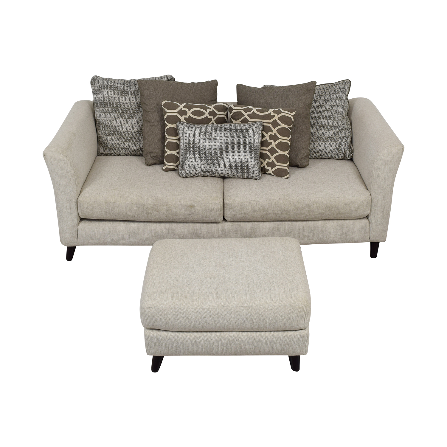 shop Raymour & Flanigan Raymour & Flanigan Kinsella White Two-Cushion Couch and Ottoman online