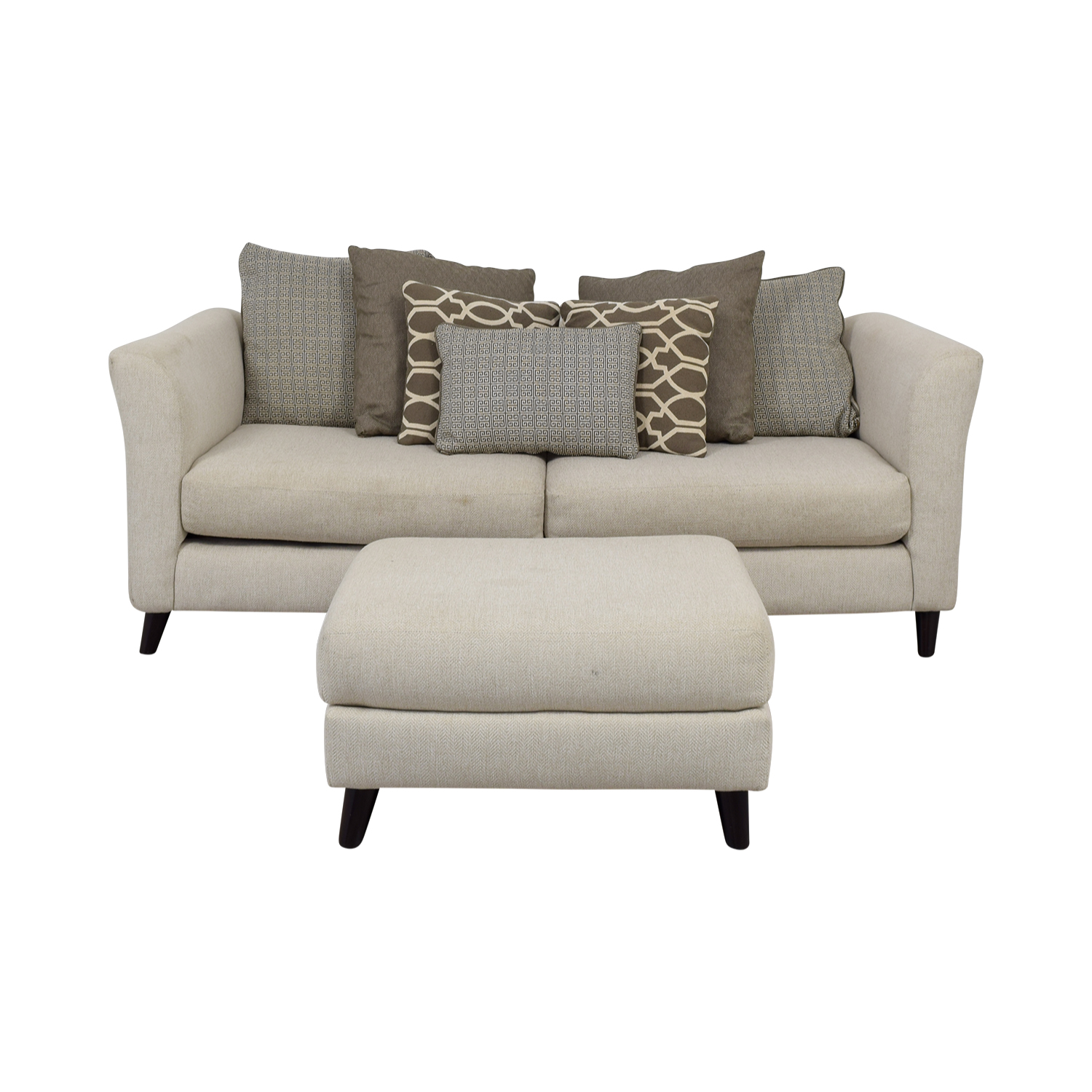 Raymour & Flanigan Kinsella White Two-Cushion Couch and Ottoman Raymour & Flanigan