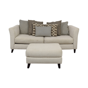 Raymour & Flanigan Raymour & Flanigan Kinsella White Two-Cushion Couch and Ottoman discount