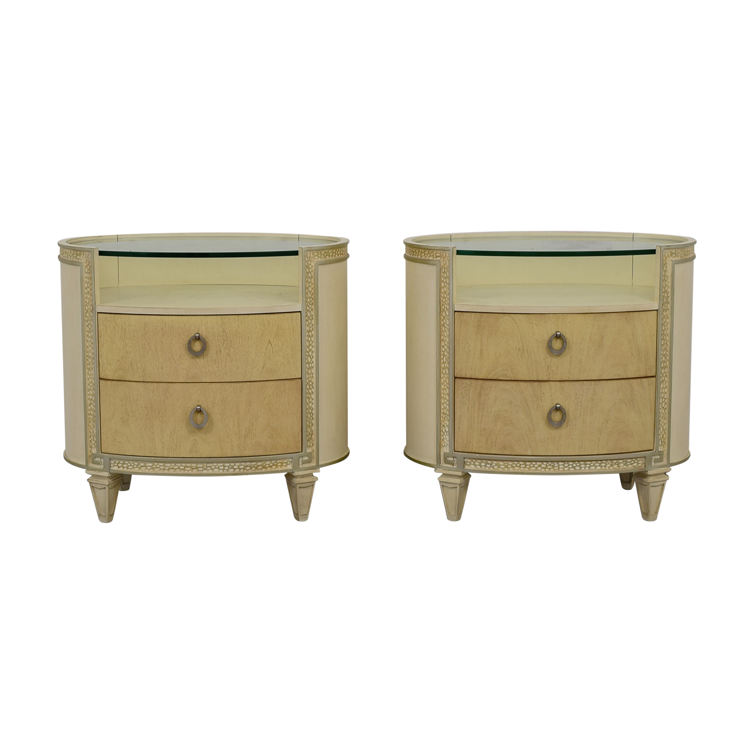 Compositions Compositions Carlton Cream and Glass Oval Two-Drawer Nightstand discount