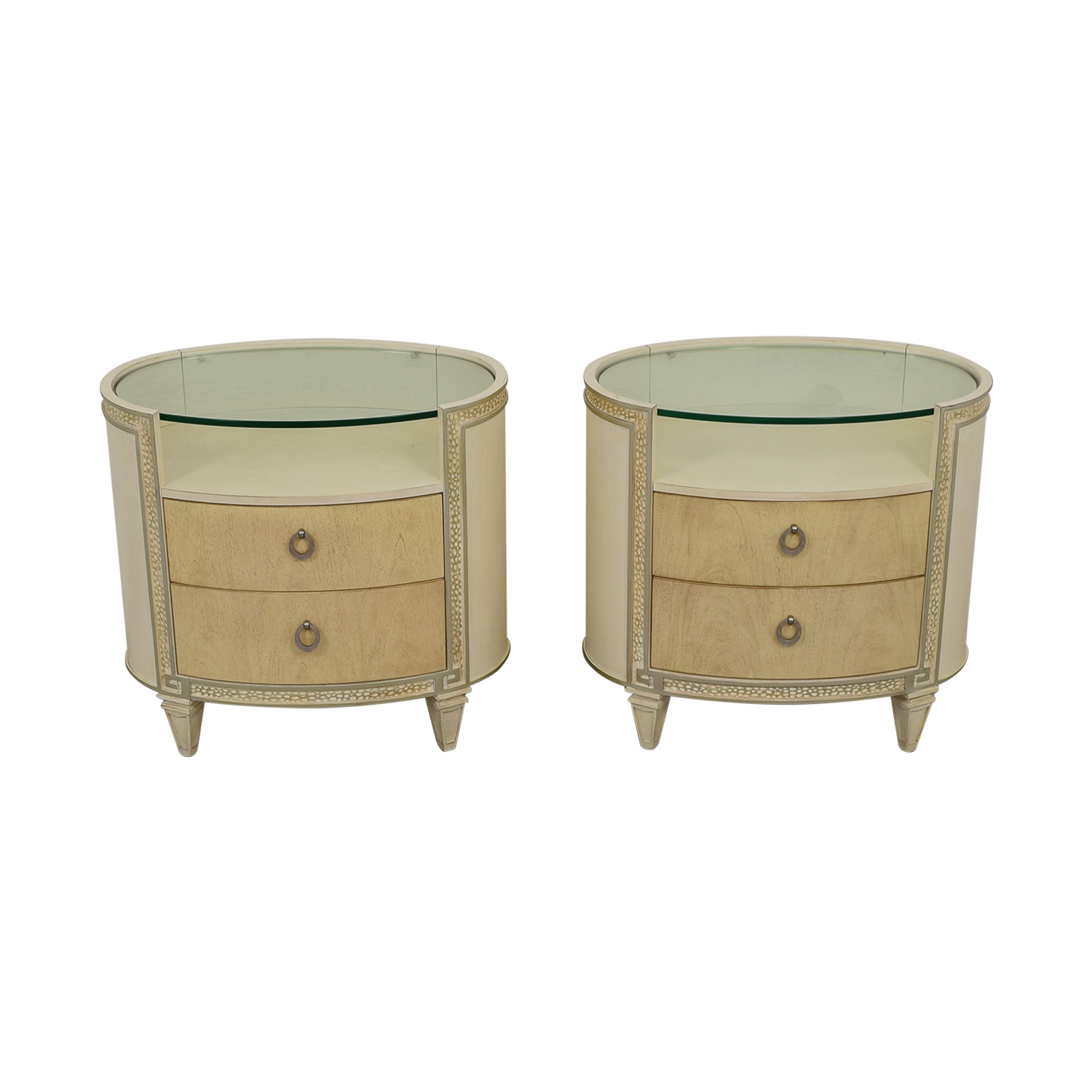90 Off Schnadig Compositions Carlton Cream And Glass Oval Two Drawer Nightstands Tables