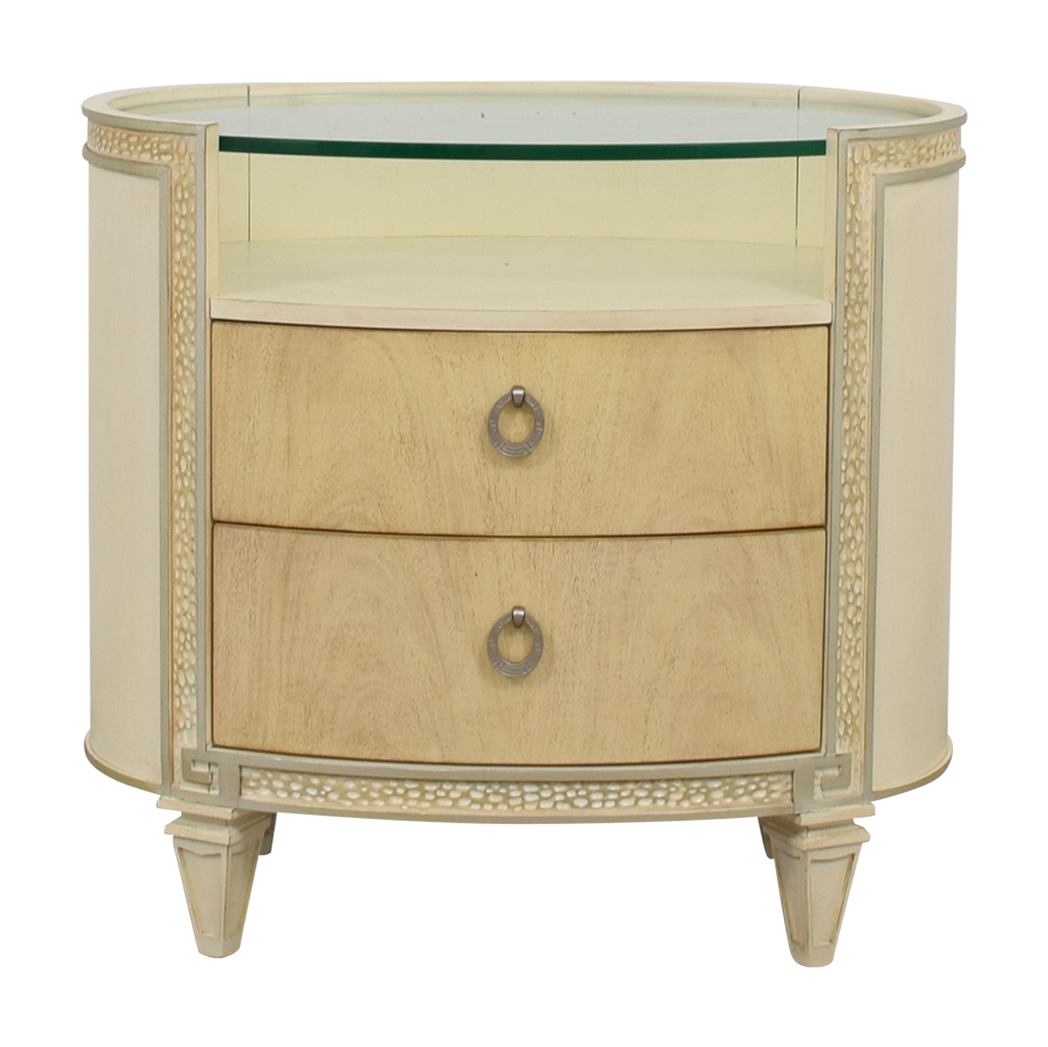 Compositions Compositions Carlton Cream And Glass Oval Two Drawer Nightstand  Used ...