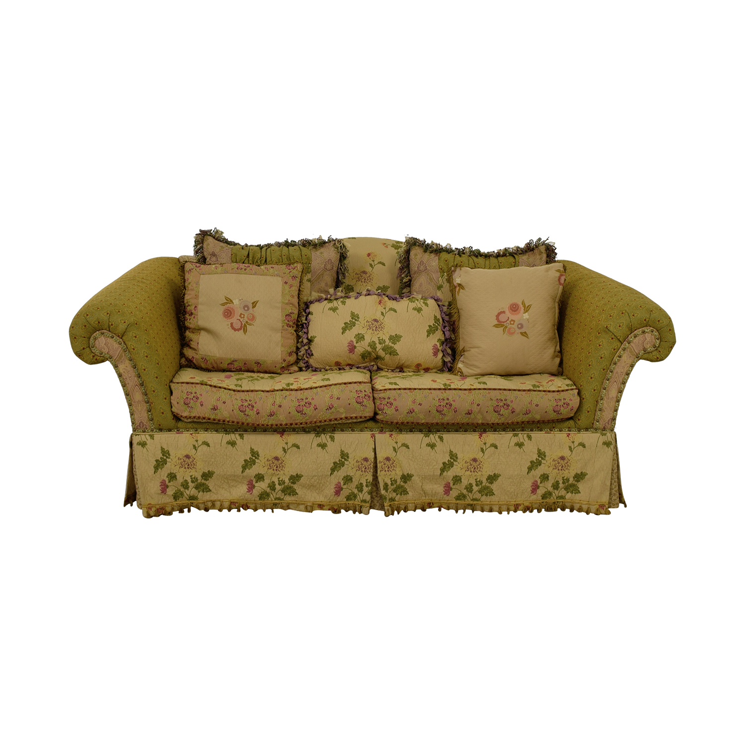 90 Off Domain Down Filled Fl Green Two Cushion Sofa Sofas