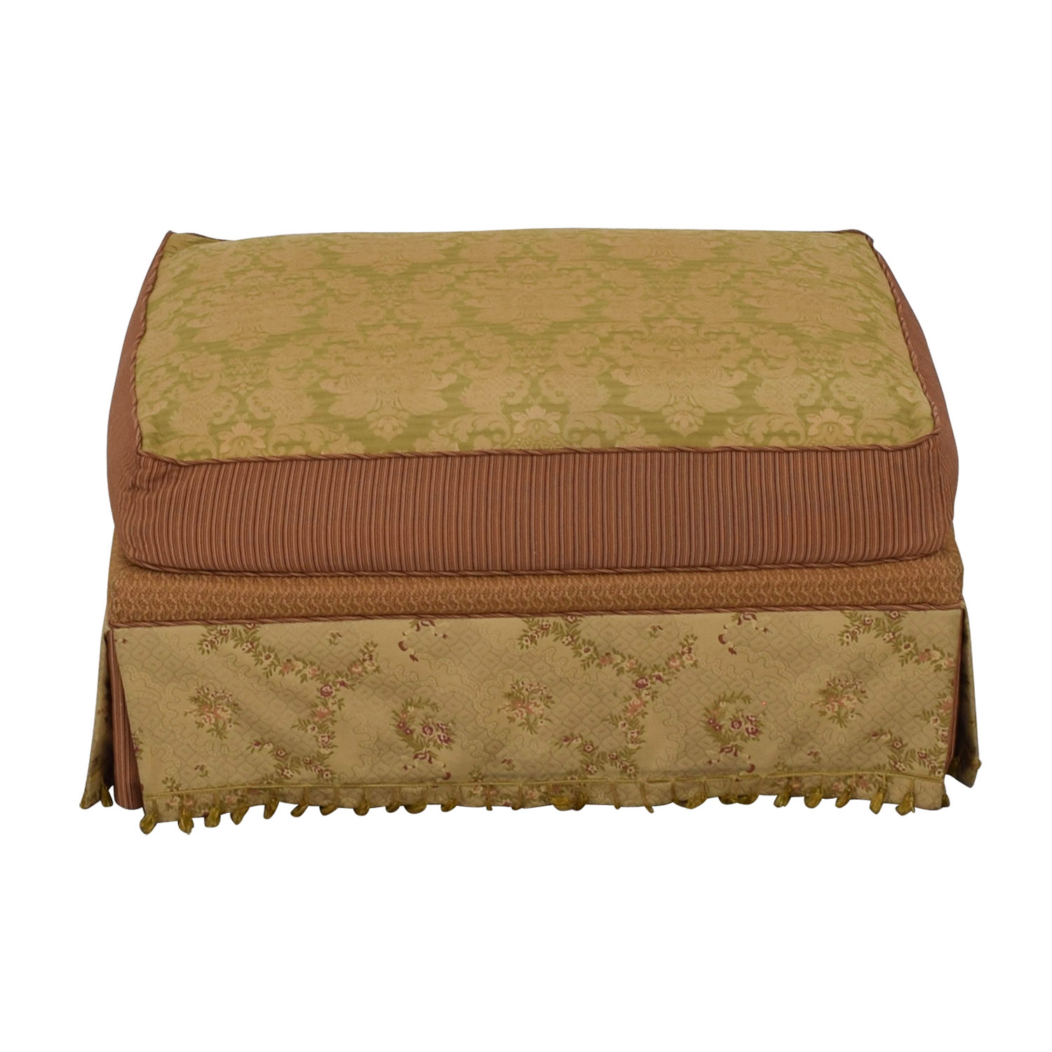 Domain Domain Beige Green and Red Fabric Ottoman nyc