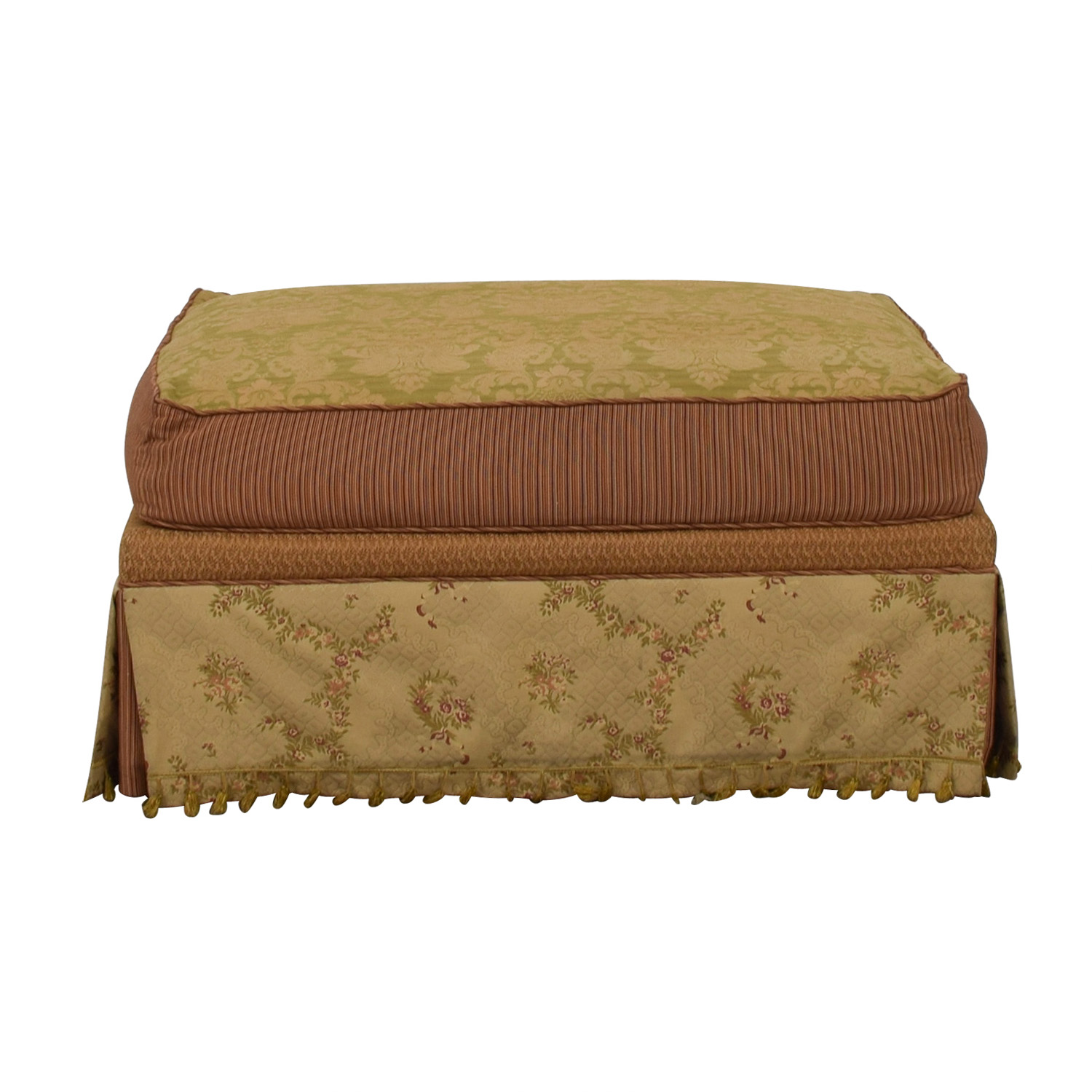 Domain Domain Beige Green and Red Fabric Ottoman