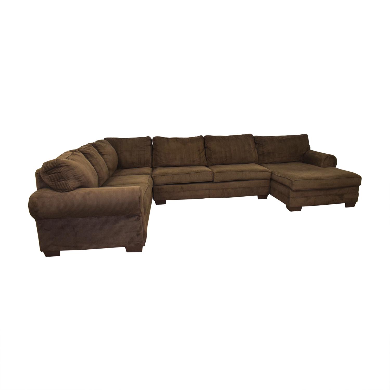 Steinhafels Steinhafels Brown L-Shaped Chaise Sectional Sofas