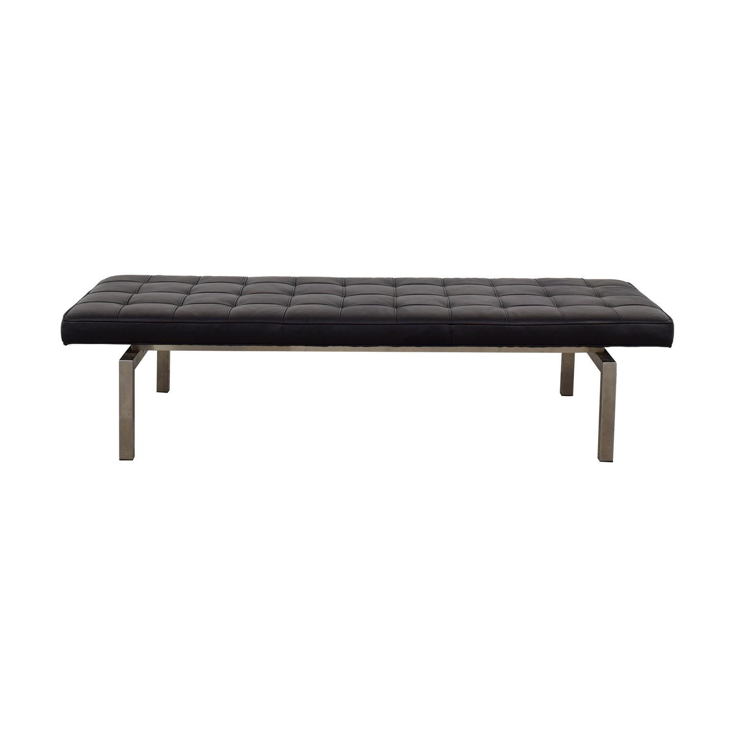 American Leather American Leather Black Tufted Leather Bench on sale