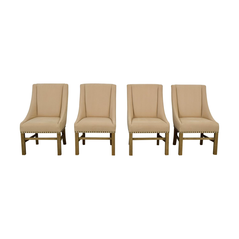 shop Restoration Hardware Beige Nailhead Dining Chairs Restoration Hardware Sofas
