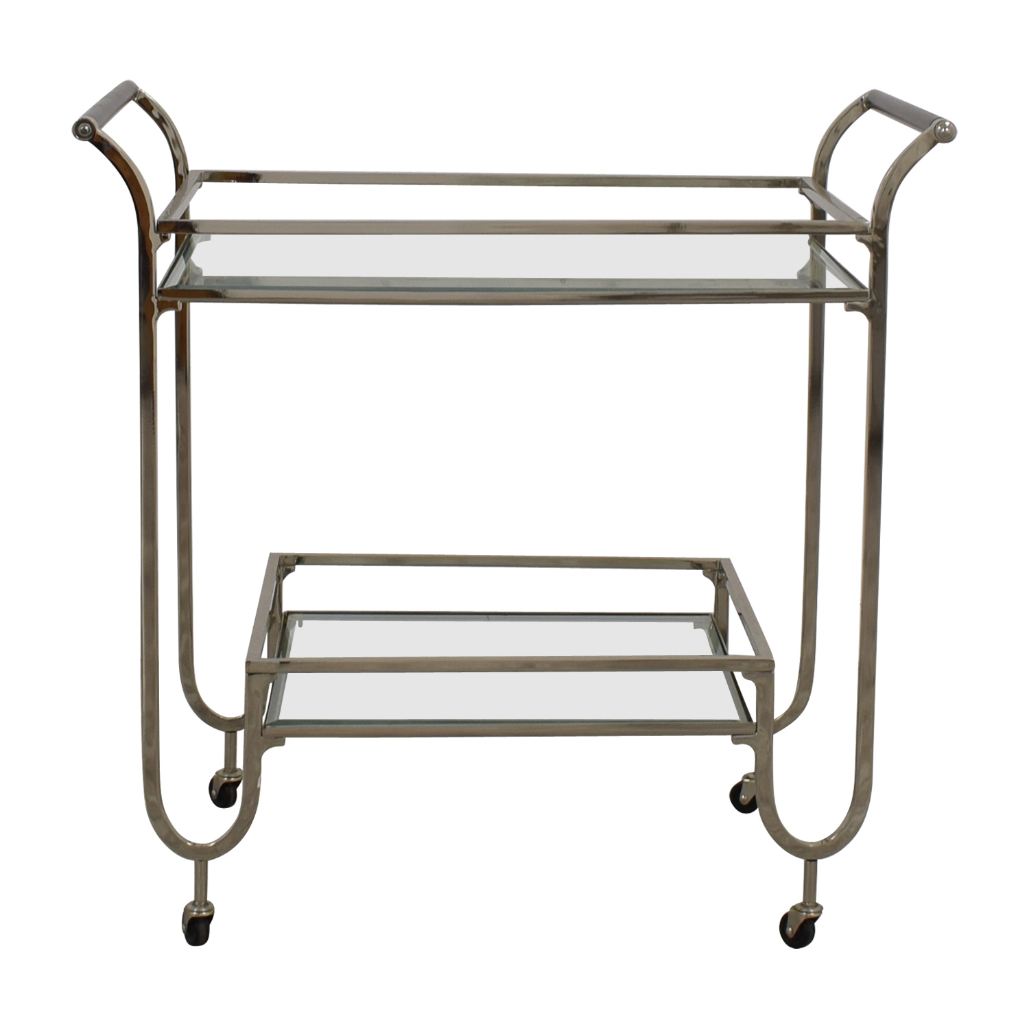 Restoration Hardware Restoration Hardware Glass and Chrome Bar Cart discount