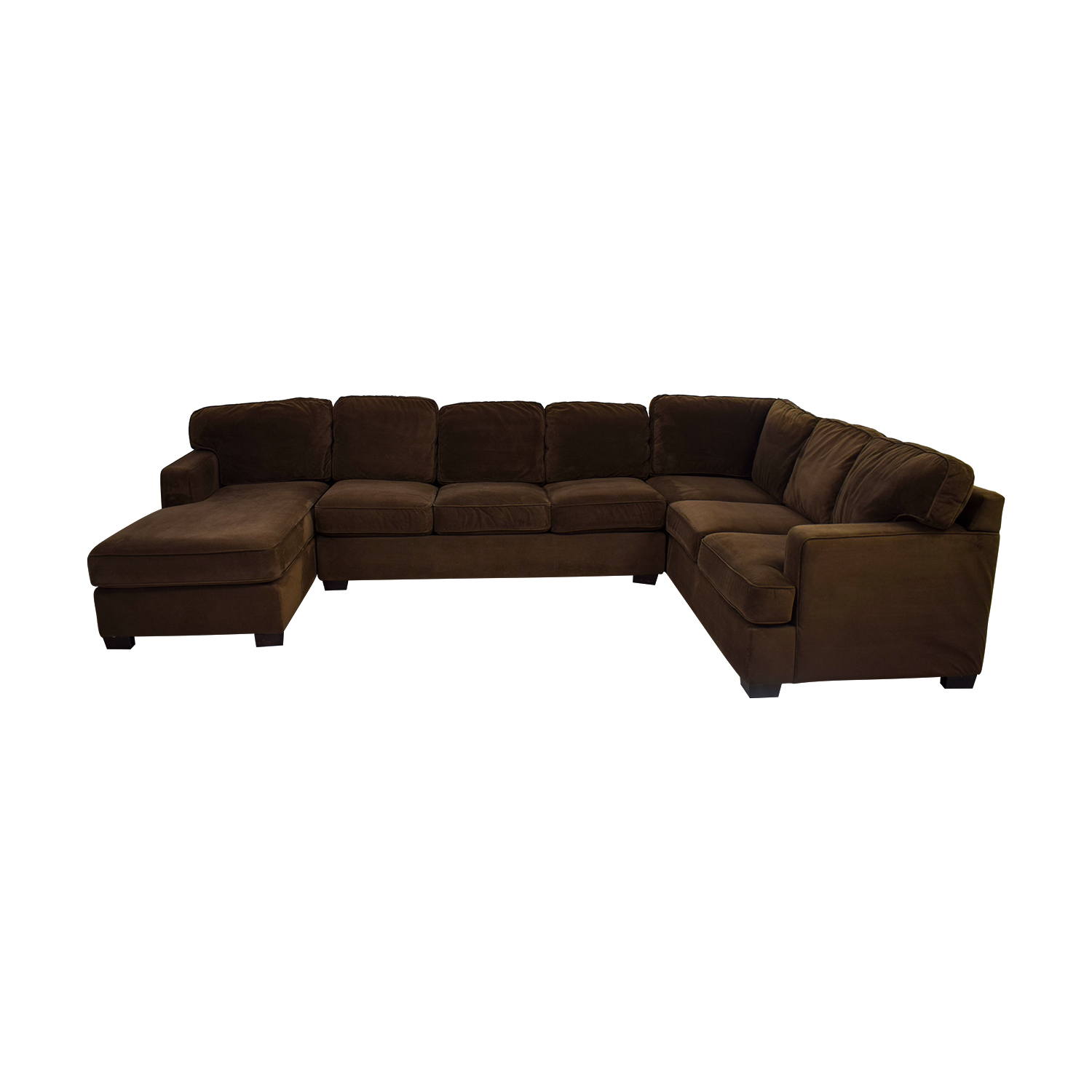 Bloomingdale's Bloomingdale's Brown Microsuede L-Shaped Chaise Sectional dimensions