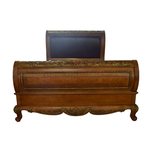 Raymour & Flanigan Raymour & Flanigan Leather Wood with Gold Trim Sleigh Queen Bed Frame dimensions