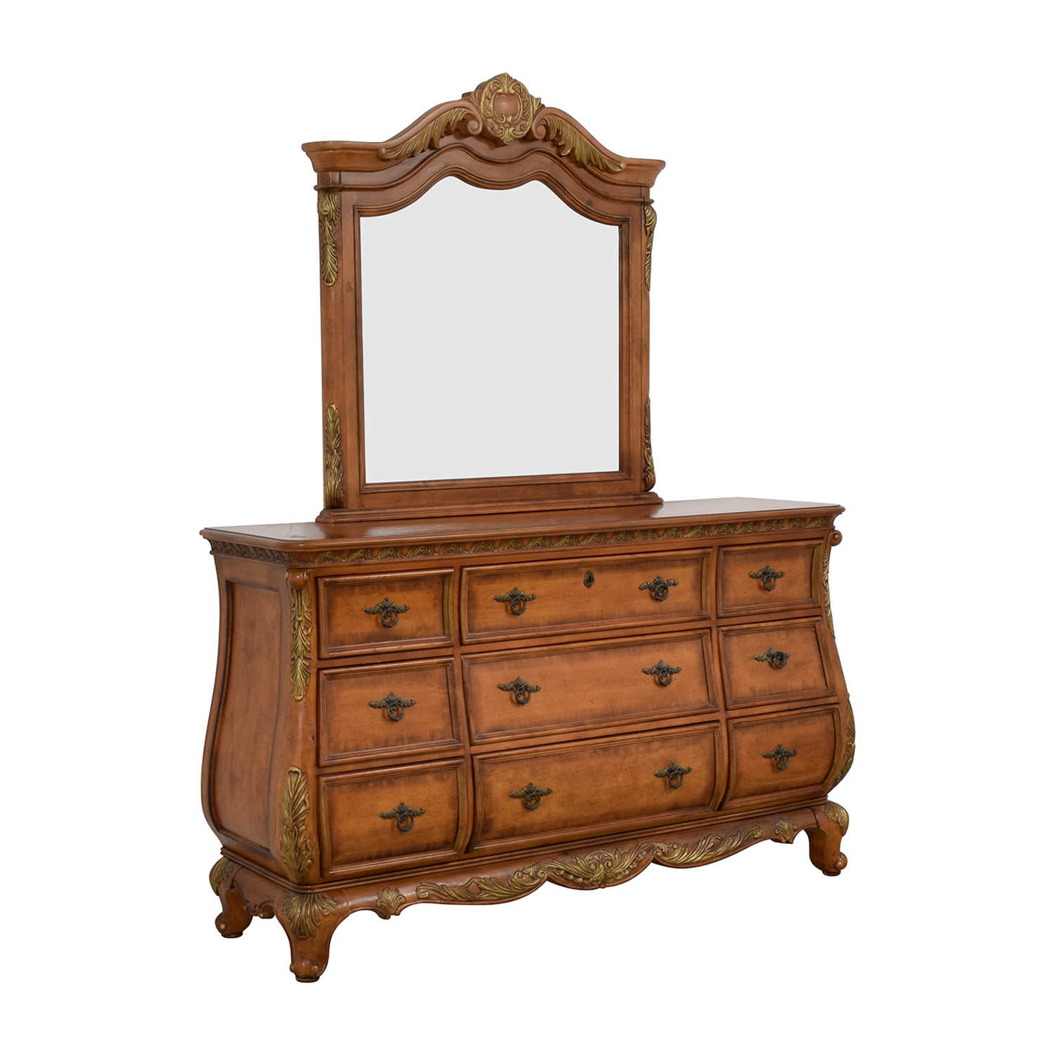 buy Raymour & Flanigan Nine-Drawer Dovetailed Dresser with Mirror Raymour & Flanigan Storage