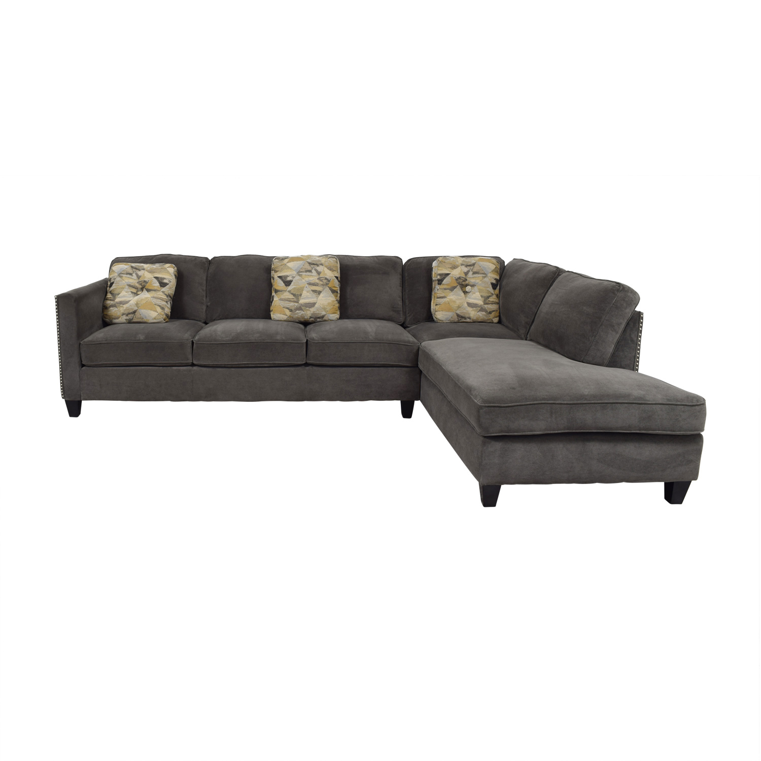 Brayden Studio Brayden Studio Baugh Grey Chaise Sectional discount