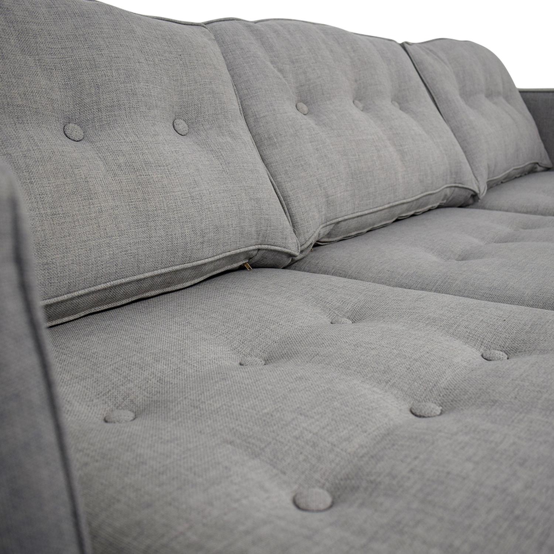 56 Off West Elm West Elm Peggy Grey Tufted Sofa Sofas