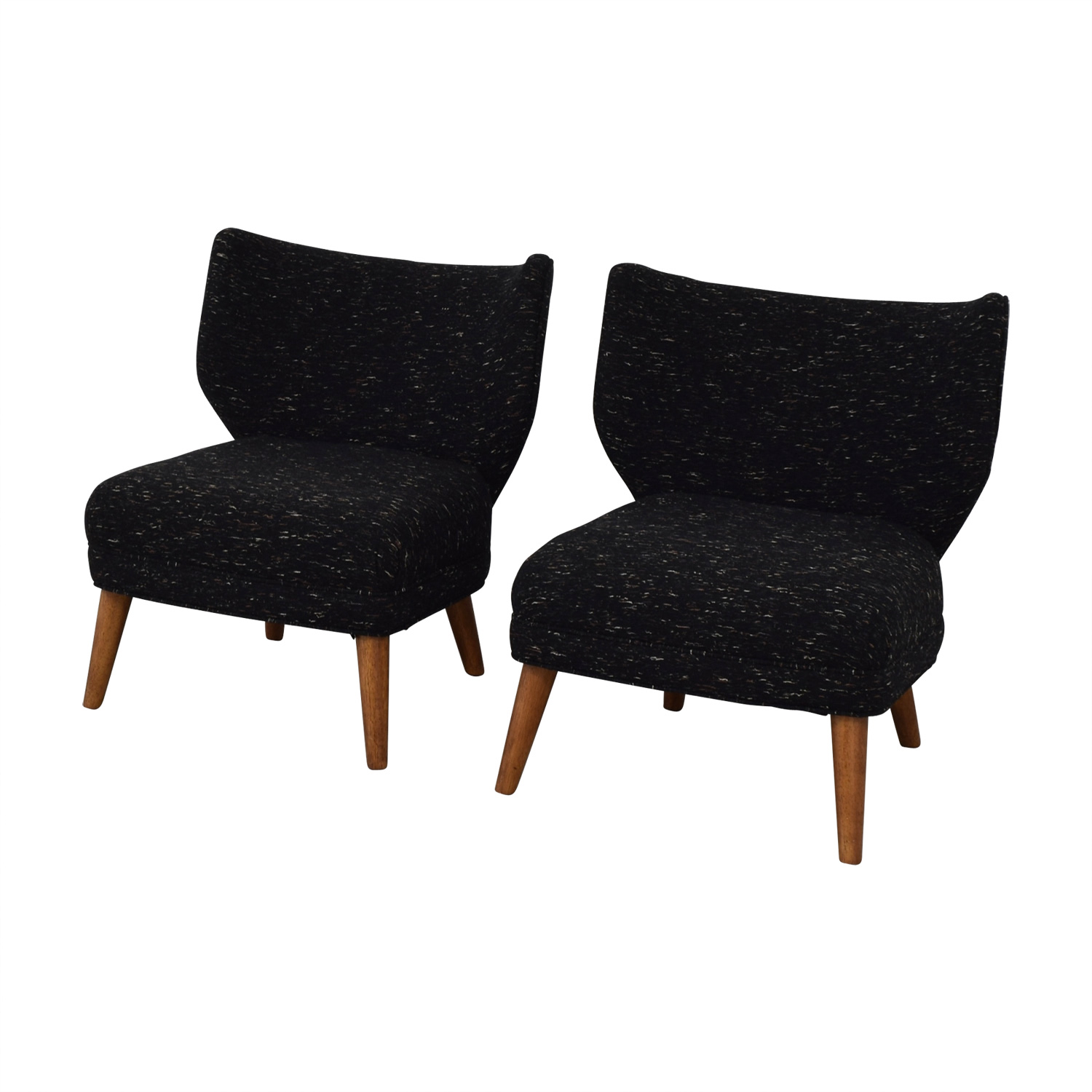 West Elm Retro Blue Wing Chairs