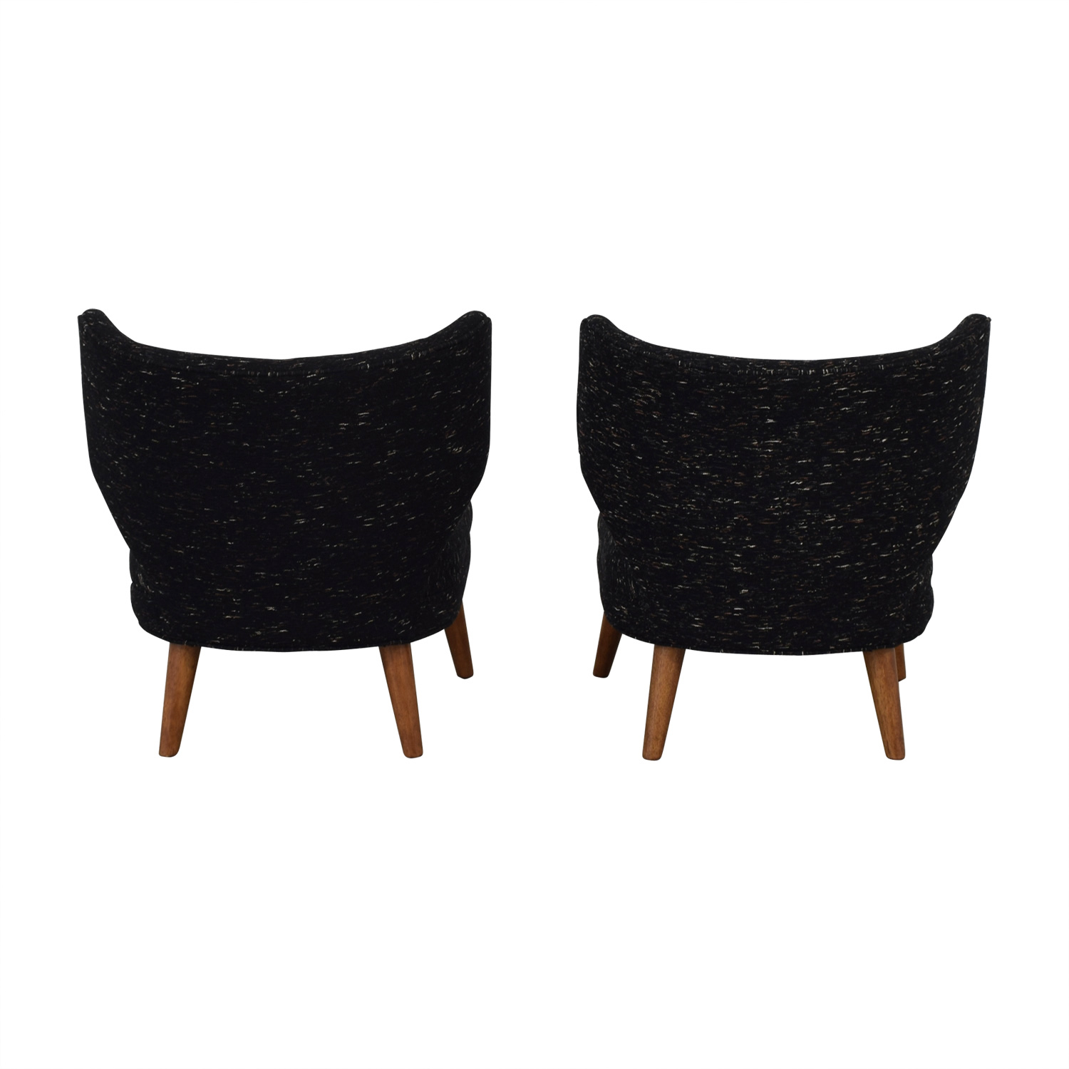 ... West Elm West Elm Retro Blue Wing Chairs Dark Blue ...