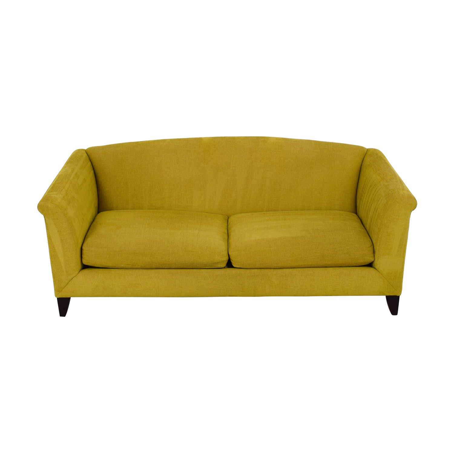 Crate & Barrel Silhouette Yellow Two-Cushion Sofa Crate & Barrel