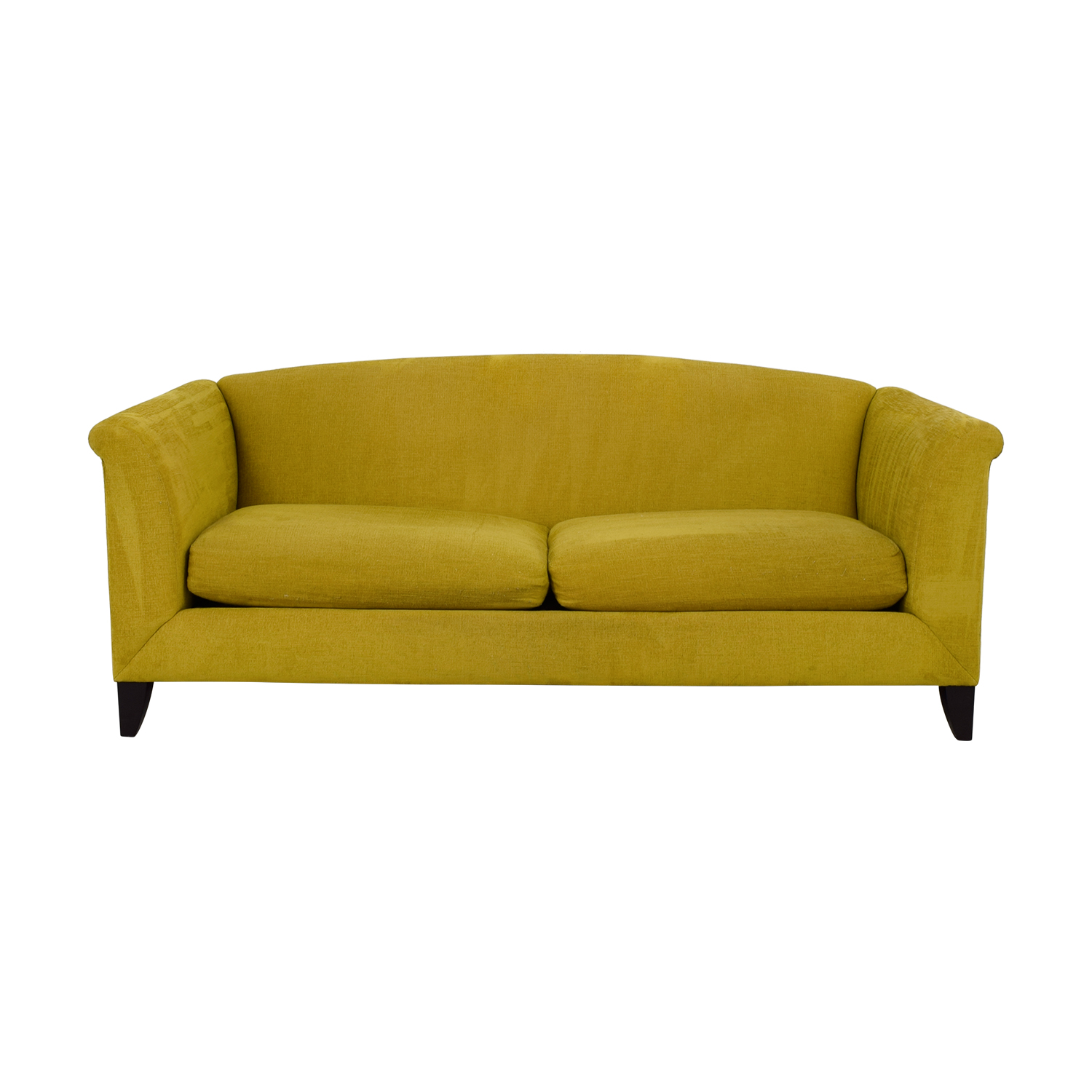 Crate & Barrel Silhouette Yellow Two-Cushion Sofa / Classic Sofas