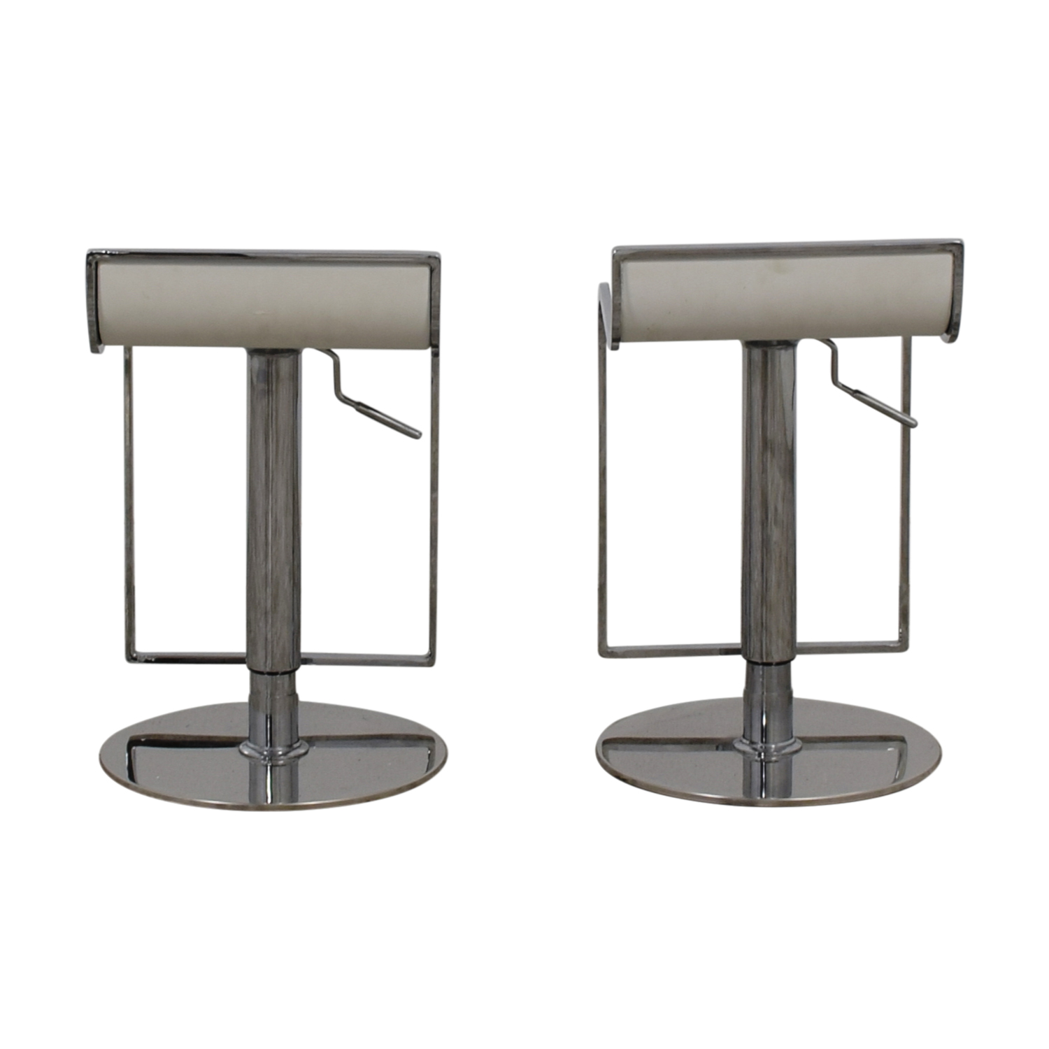 White Leather and Chrome Stools Stools