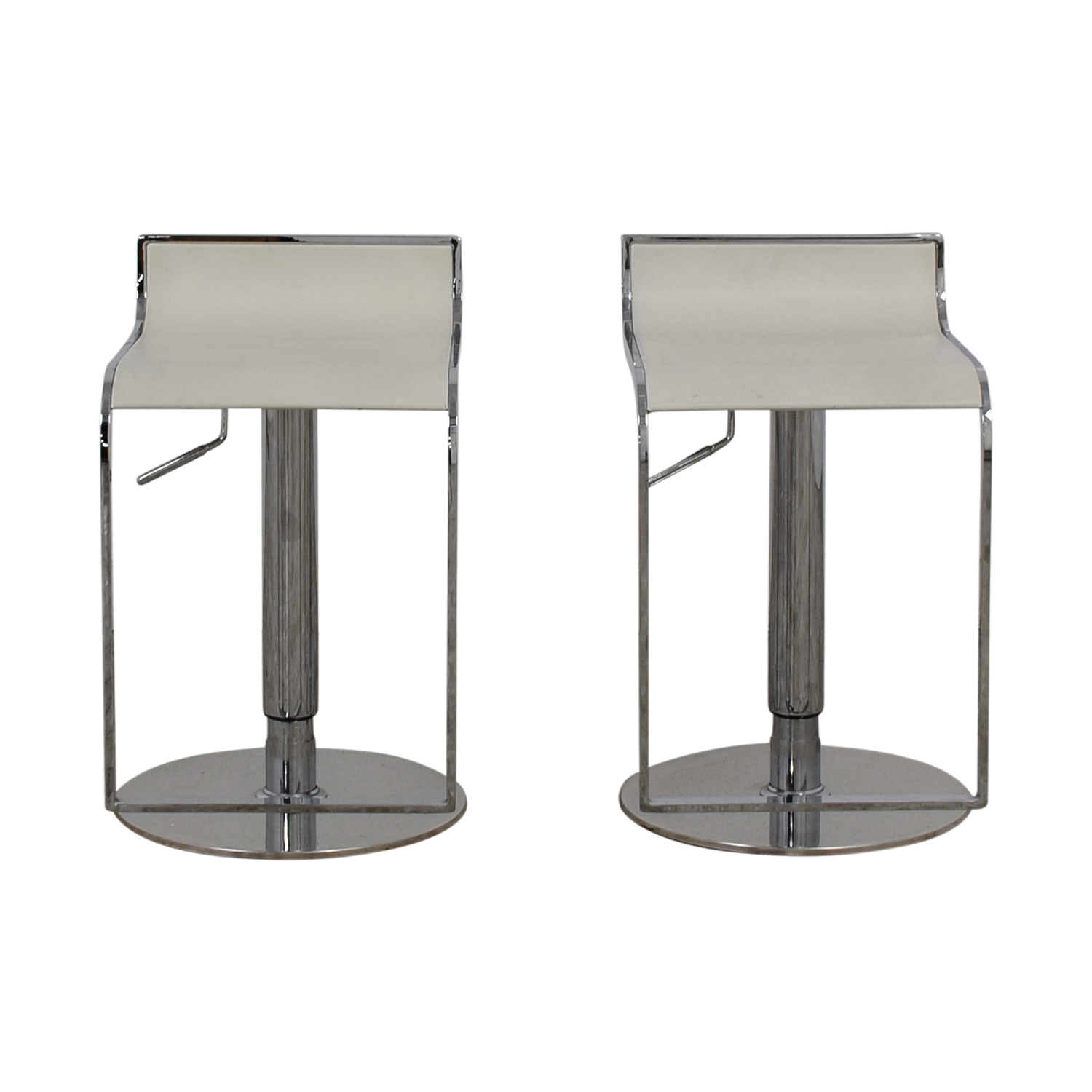 buy White Leather and Chrome Stools  Chairs