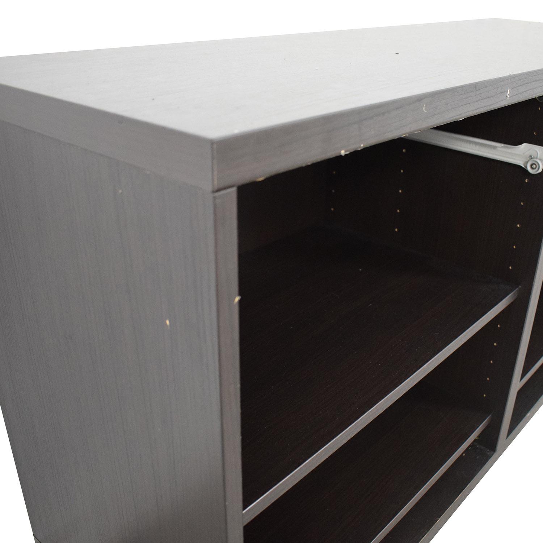 78% off - ikea ikea black credenza or sideboard / storage