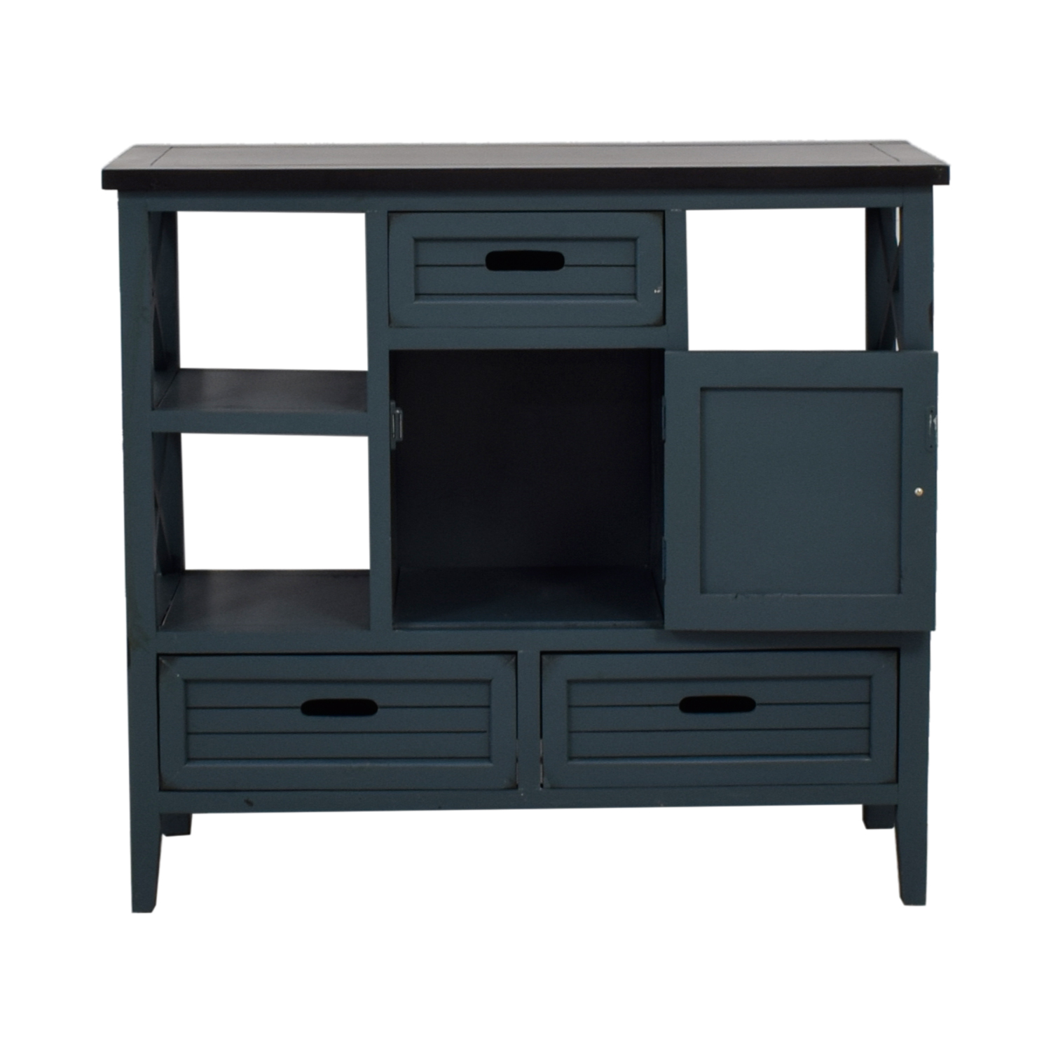 shop Blue Wood Bar Cabinet  Storage