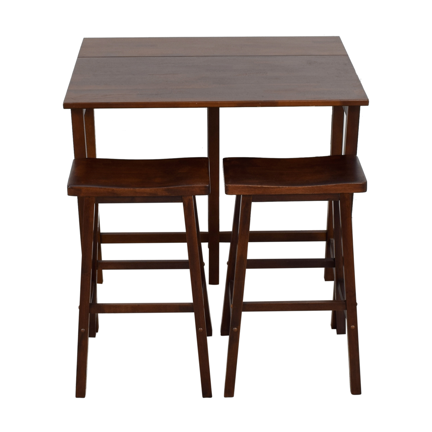 59 Off One Sided Wood Drop Leaf Kitchen Set With Stools