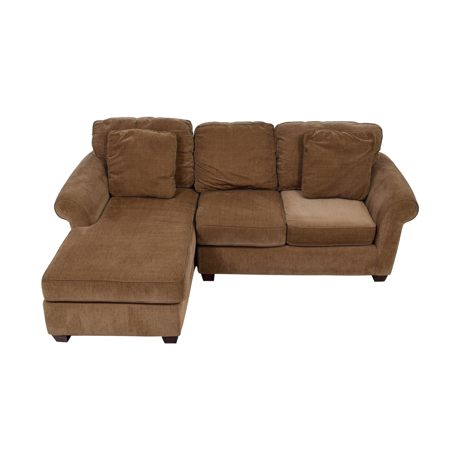 Raymour & Flanigan Raymour & Flanigan Brown Multi Colored Tweed Chaise Sectional Greenish brown