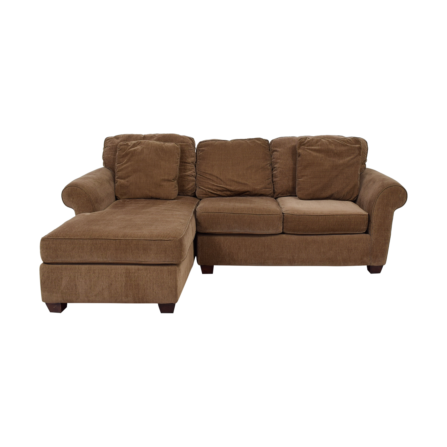 Raymour & Flanigan Raymour & Flanigan Brown Multi Colored Tweed Chaise Sectional Sofas