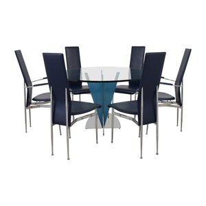 Fasem Glass Top Table with Fasem S44 Chairs used