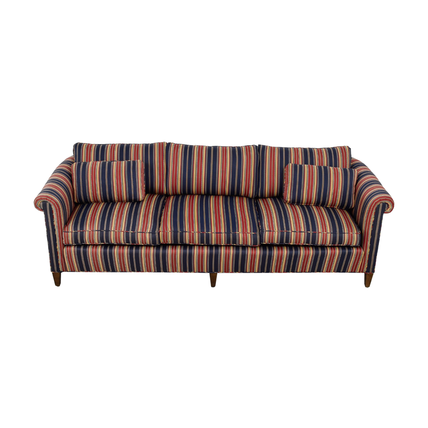 Navy and Red Multi Color Roll Arm Sofa Sofas