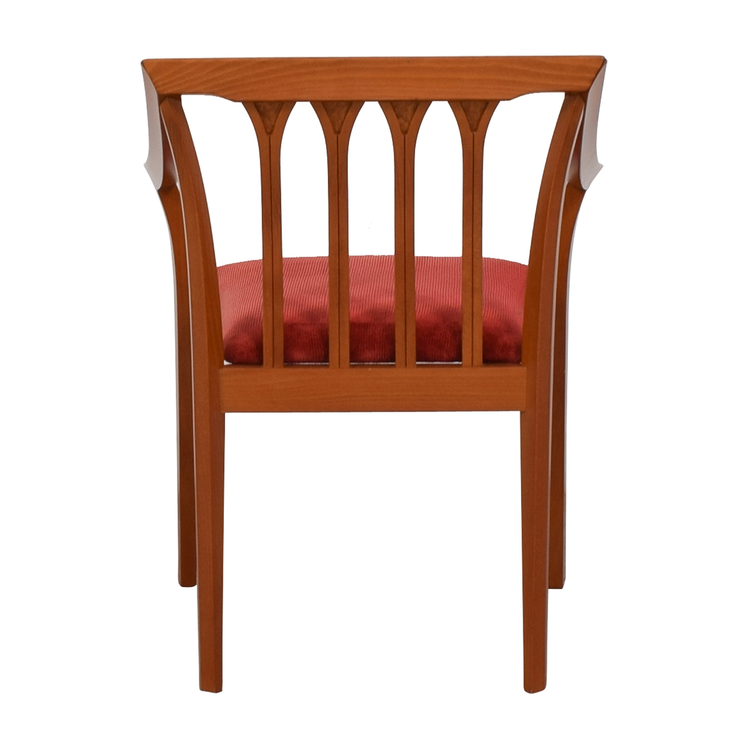 Wood and Red Brown Fabric Arm Chair Chairs