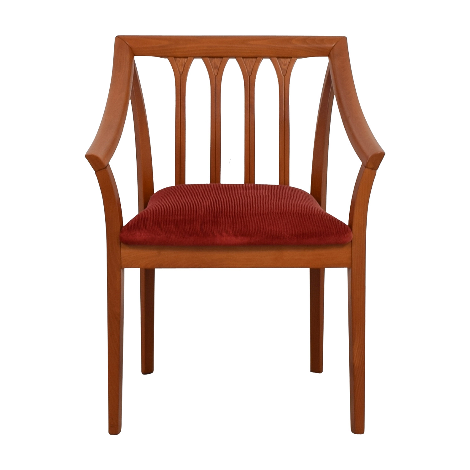 shop Wood and Red Brown Fabric Arm Chair  Accent Chairs