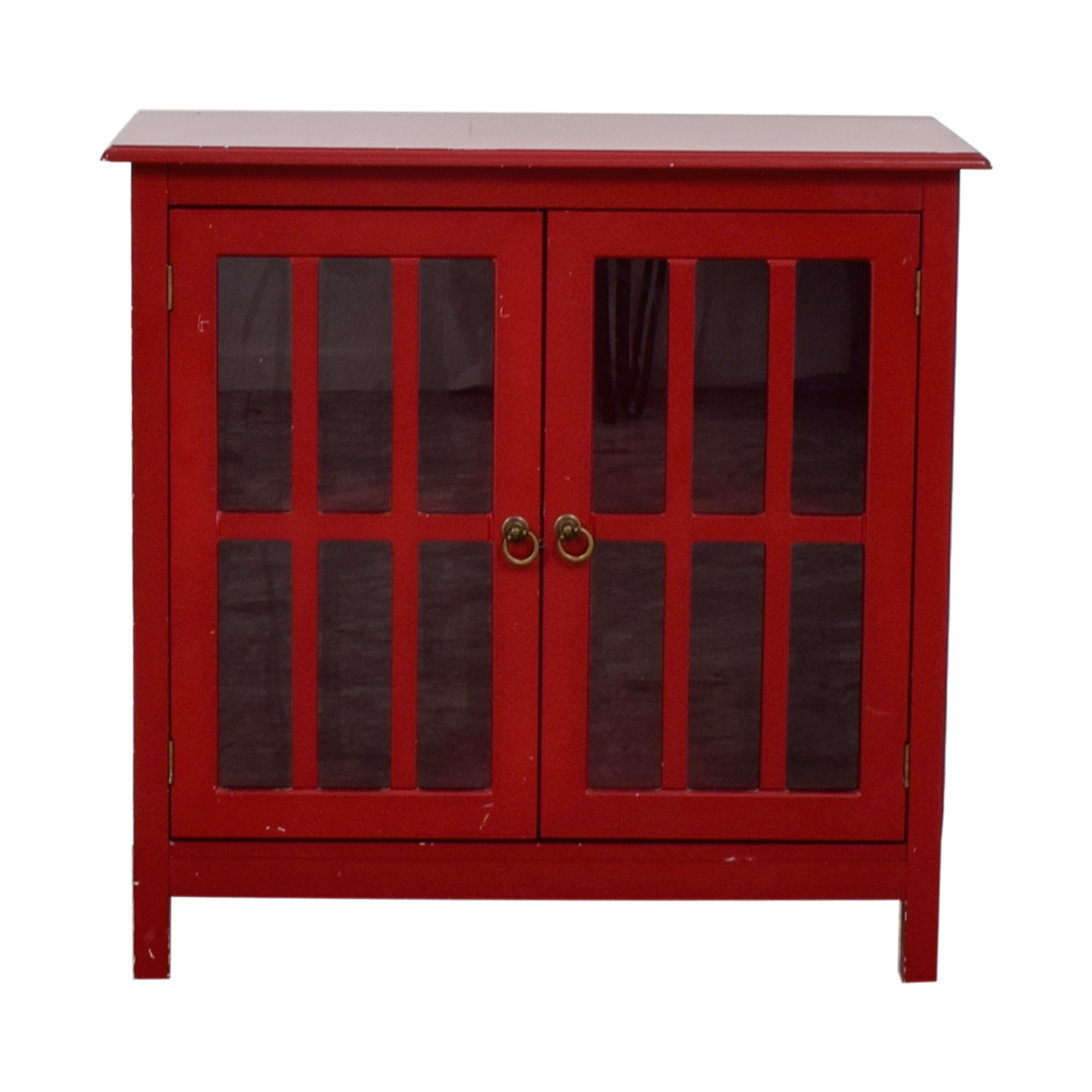 Double Door Glass Red Cabinet for sale