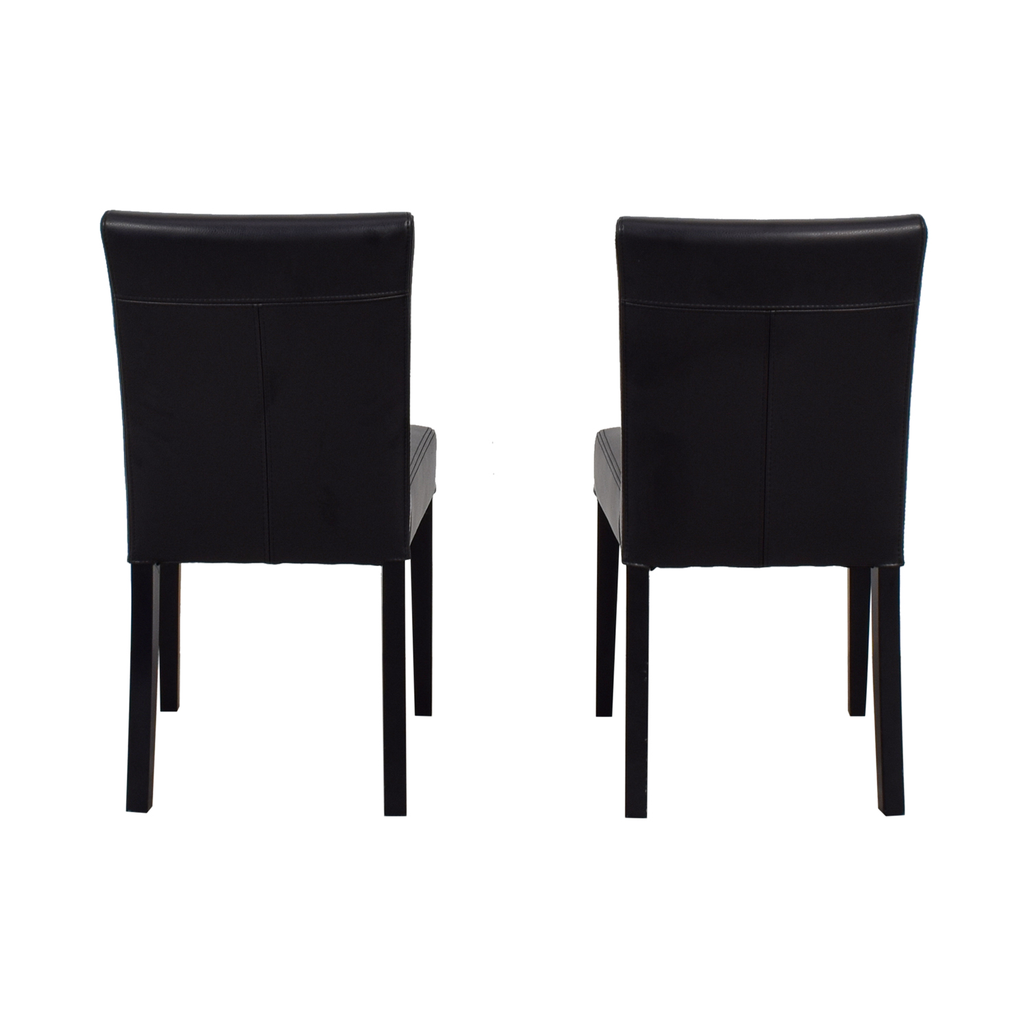 Crate & Barrel Crate & Barrel Lowe Onyx Black Leather Chairs dimensions