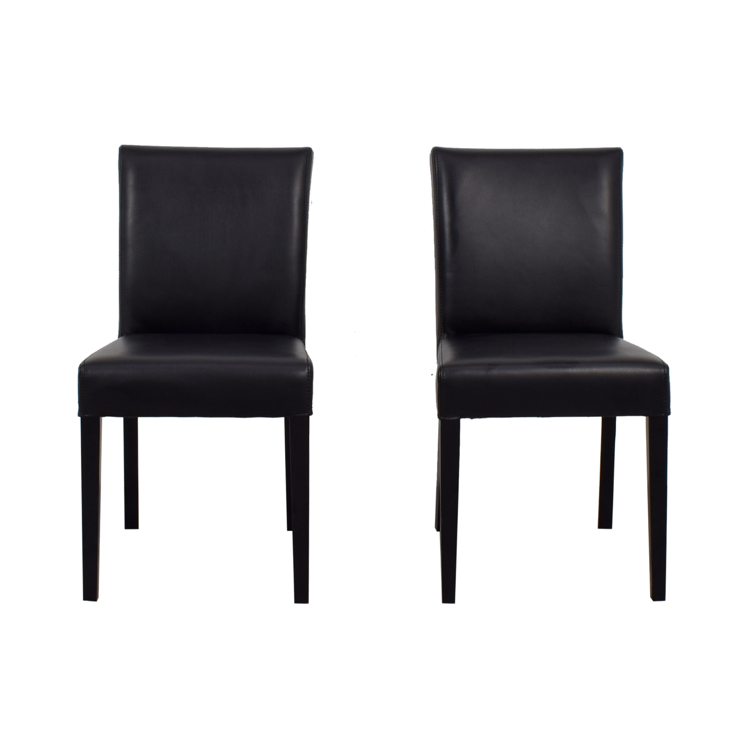 buy Crate & Barrel Lowe Onyx Black Leather Chairs Crate & Barrel