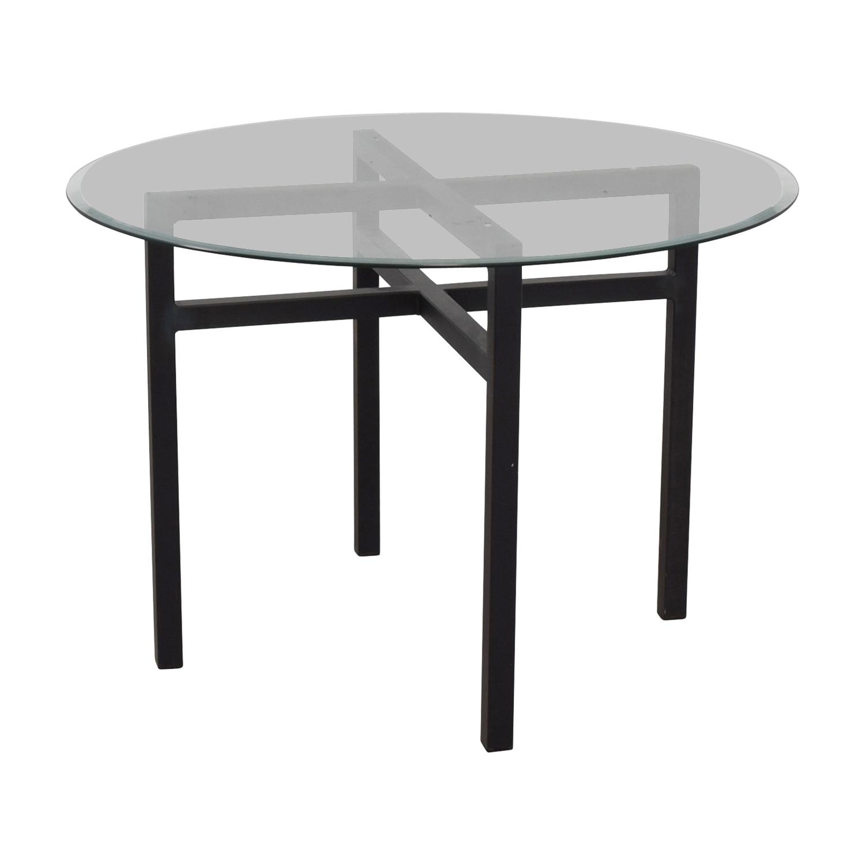 ... Room U0026 Board Benson Round Glass Top Dining Table Room U0026 ...