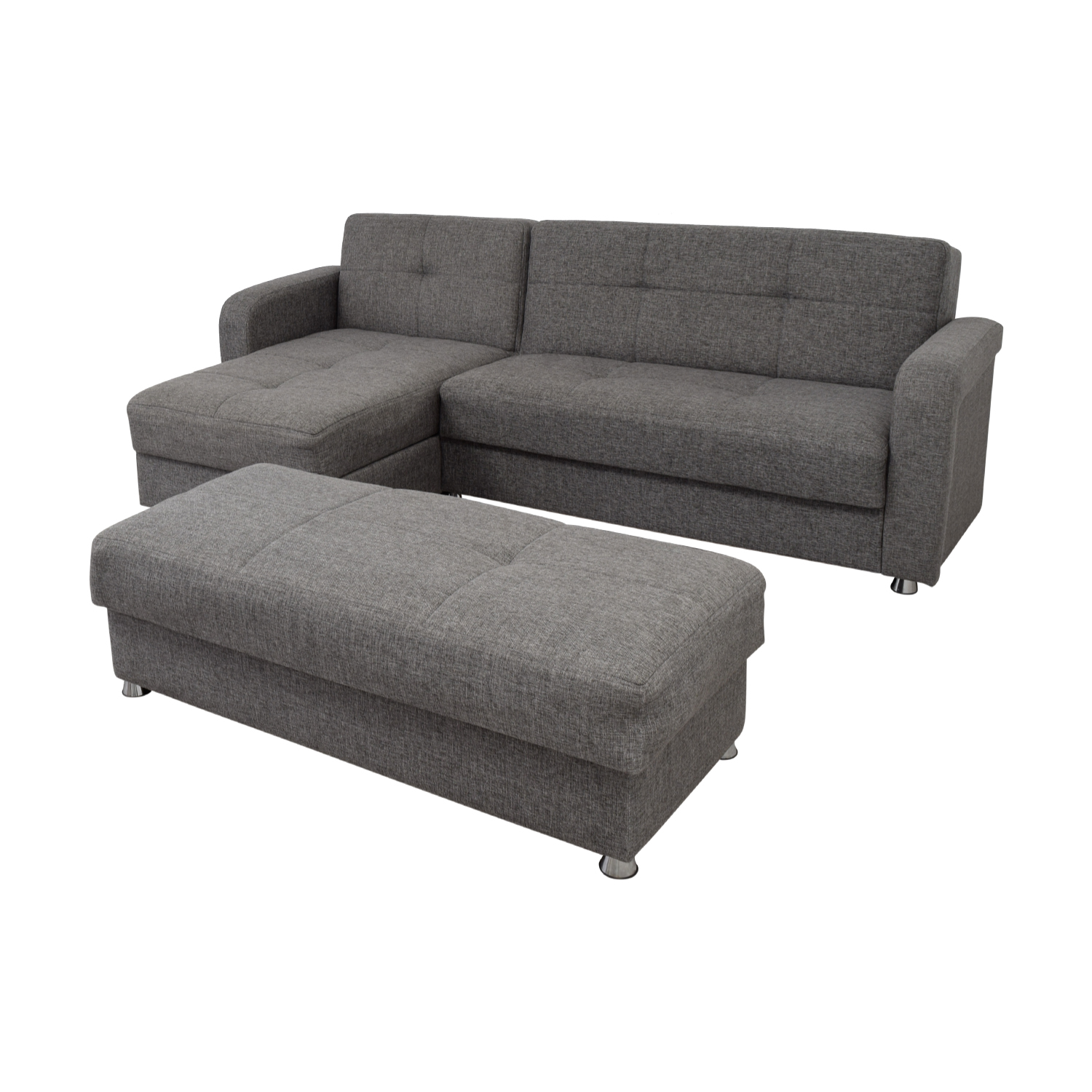 Awesome 54 Off Istikbal Istikbal Grey Convertible Sectional Sofa With Ottoman Bench Sofas Squirreltailoven Fun Painted Chair Ideas Images Squirreltailovenorg